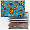 Lenticular ID Card Holder with vinyl insert of six frosted pockets, 3D Happy Face with UFO in the Blue Sky, Yellow Blue