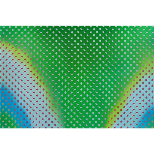 3D Lenticular Fabric Sheet Color-Changing Red White Star Green White