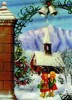 3D Lenticular POSTCARD - GIRLS AT CHURCH/SNOW