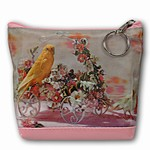 Lenticular Purse, 3D Lenticular Images, Canary and Flower Cart, SSP-130-Pavia