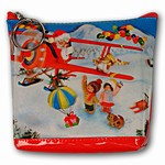 Lenticular Purse, 3D Lenticular Images, Areo Santa Claus flying Plane, Christmas, SSP-195-Pavia